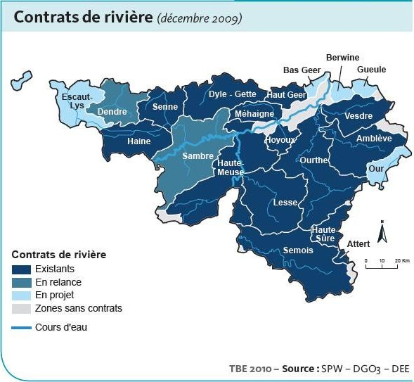 River contracts in the Walloon Region